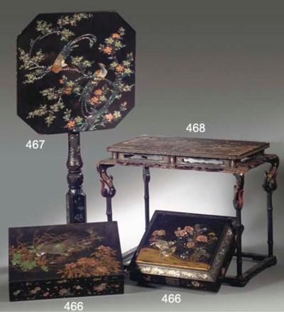Two Nagasaki black lacquer box