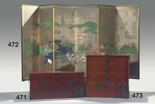 A keyaki-wood clothing chest,