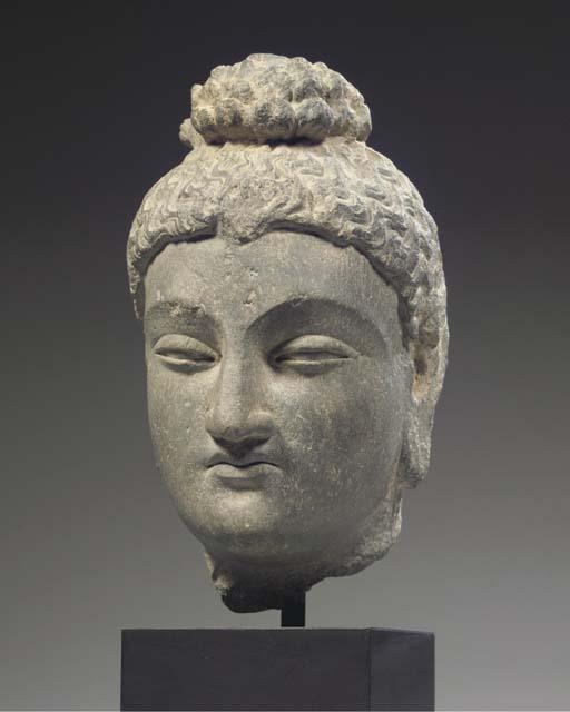 a gandhara schist stone head o