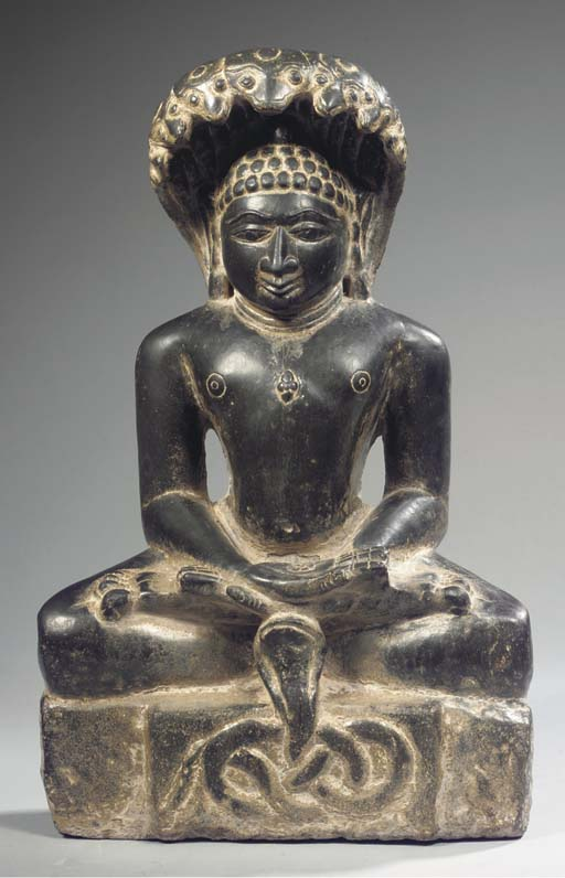 an indian, rajasthan, black stone figure of parsvanatha