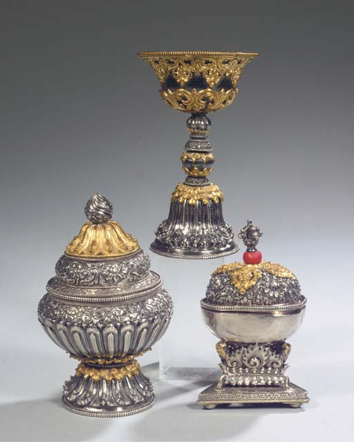 (3)  three tibetan parcel-gilt