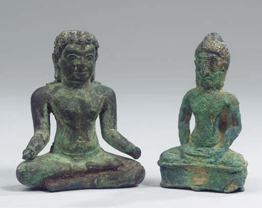 (2) two thai bronze figures of