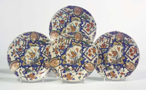 A set of four Dutch Delft poly