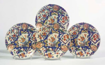 A set of four Dutch Delft poly