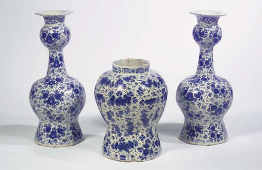 (3) A Dutch Delft blue and whi
