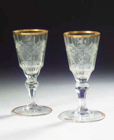 A pair of Silesian engraved fa