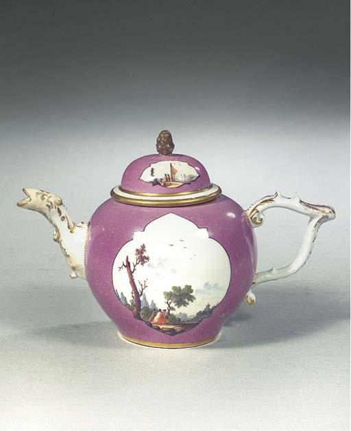 A Meissen porcelain gilt purpl