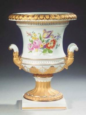 A large Meissen porcelain gilt