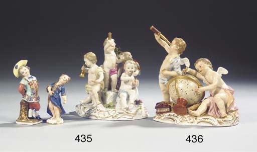 A Meissen porcelain group of t