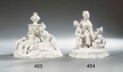A Höchst porcelain white group