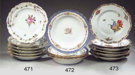 A set of six Meissen Marcolini