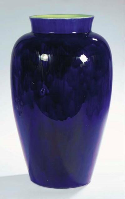 A large blue glazed pottery va