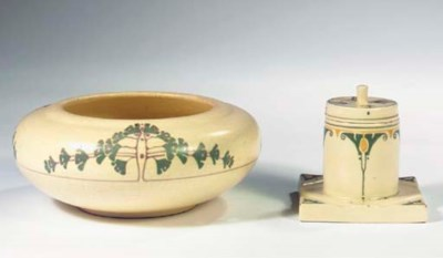 (2)  A glazed pottery inkset