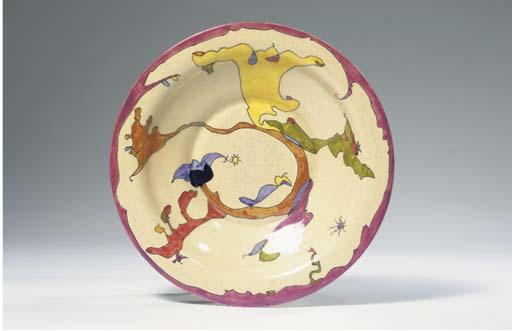 Wijd, a glazed pottery plate
