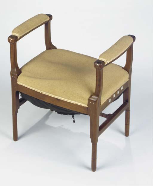 Opus 161 No 7923, an ivory and palmwood inlaid mahogany window-stool