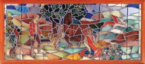 A stained and leaded-glass win