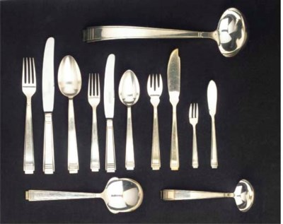(109) A silver plated flatware