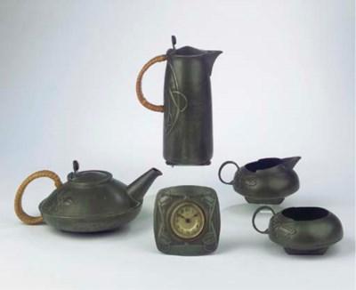 (5)  A Tudric pewter coffee- a