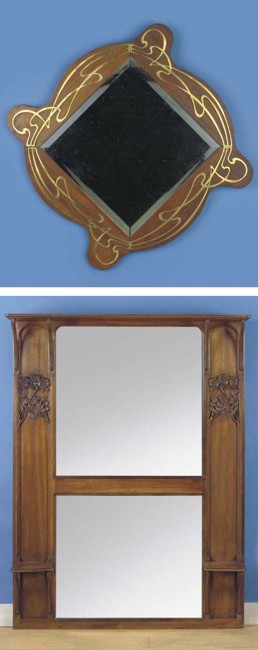 (2)  A carved wooden mirror