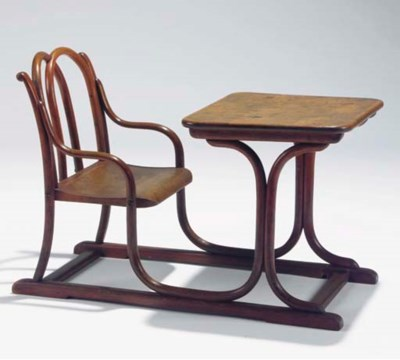A bentwood children's desk and