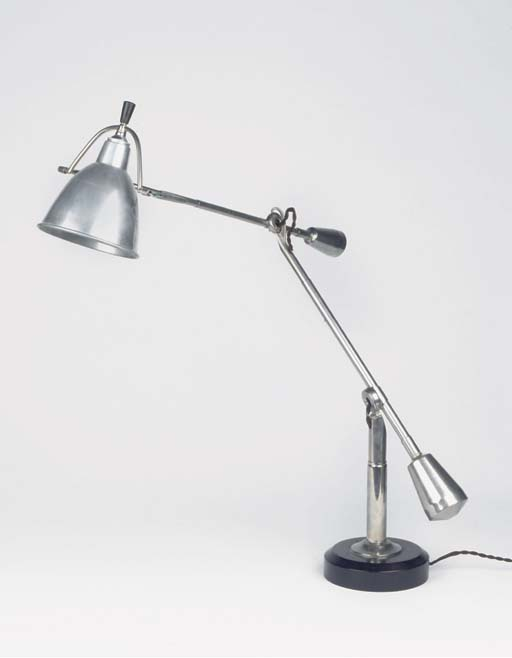 A METAL AND STAINED BEECHWOOD ARCHITECT'S LAMP