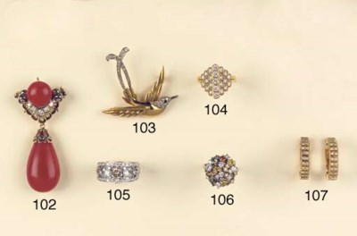 A RETRO DIAMOND AND CORAL BROO