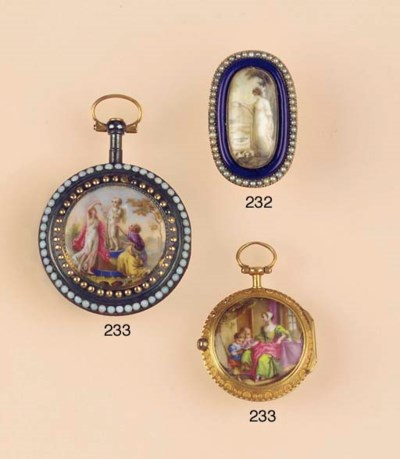 AN ANTIQUE PEARL AND ENAMEL MO