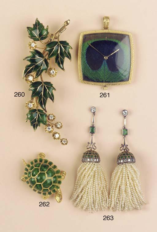 A DIAMOND AND GREEN ENAMEL SPR