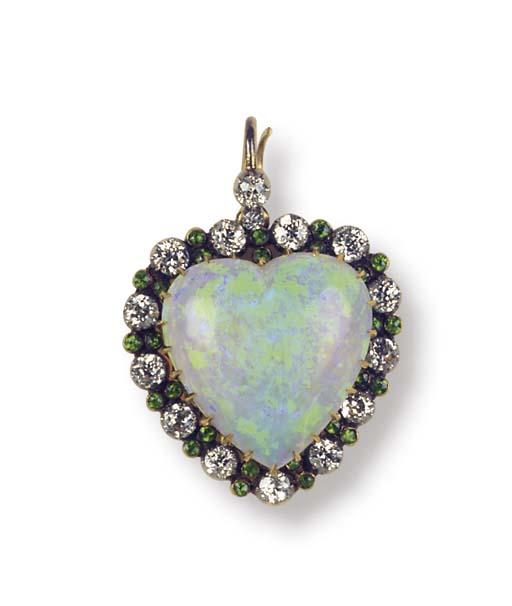 AN ANTIQUE OPAL, DIAMOND AND D