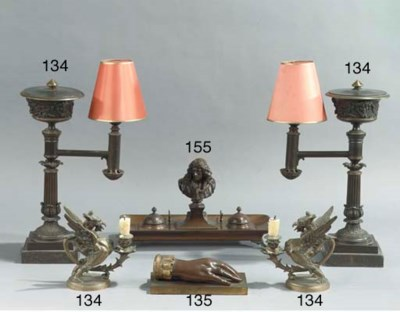 (4) A pair of bronze colza oil