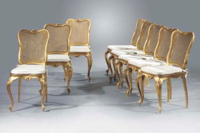 A set of eight giltwood salon
