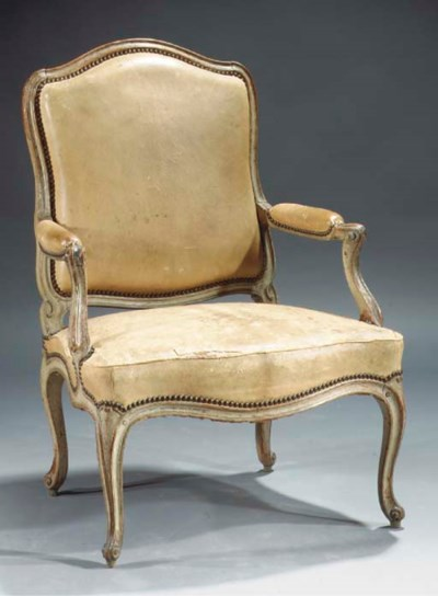 A Louis XV painted beechwood f