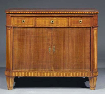 A Dutch mahogany and fruitwood