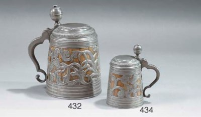 A BAVARIAN PEWTER AND ENGRAVED