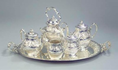 A silver six-piece tea- and co