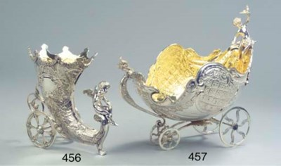 A parcel-gilt and silver large