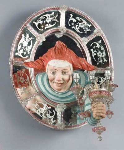A Venetian glass and figural w