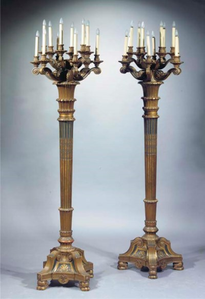 A pair of giltwood and green-p
