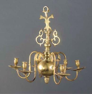 A German brass six-light chand