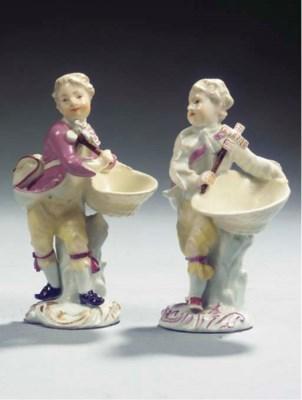Two Meissen porcelain putto sa