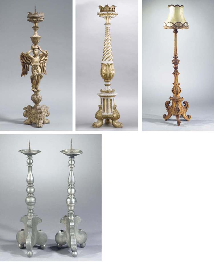 A GILTWOOD FIGURAL PRICKET CAN