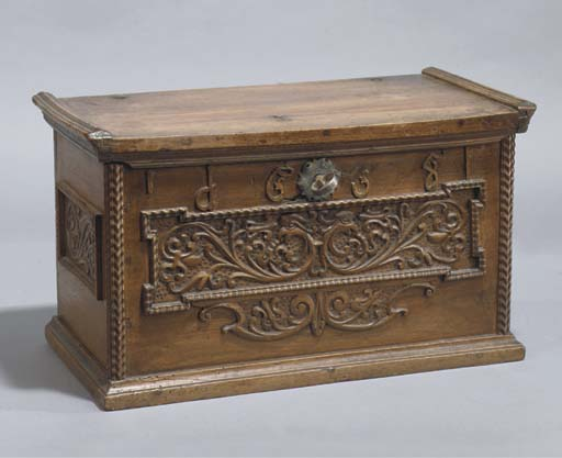 A swiss walnut miniature chest