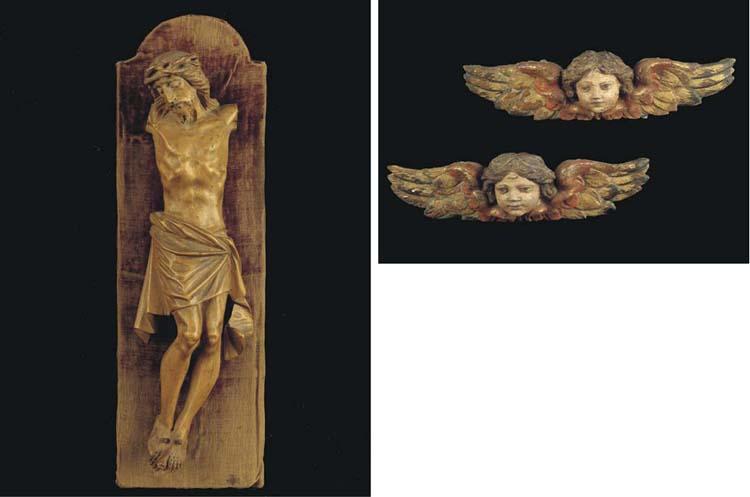 (3)  A pair of polychrome carv