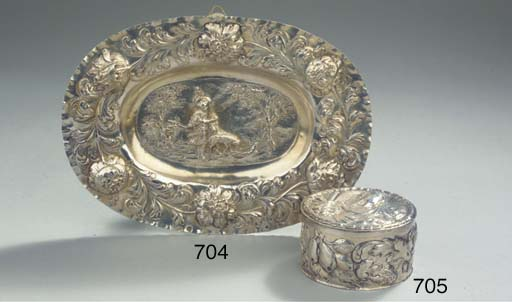 A GERMAN SILVER toilet box and