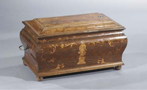 A walnut, fruitwood and marque