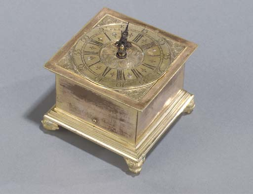 A German gilt-brass table cloc
