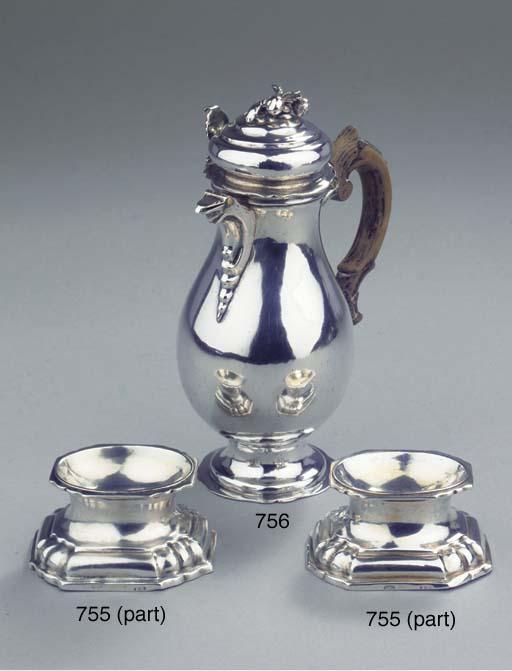 A pair of German silver salt-c