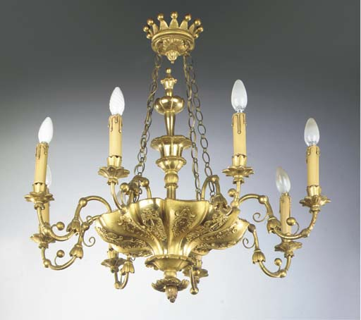 An Austrian giltwood eight-lig