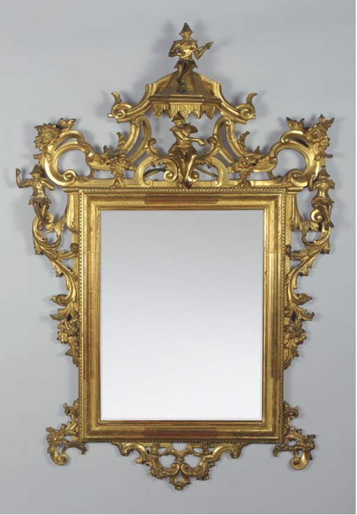 A giltwood chinoiserie mirror