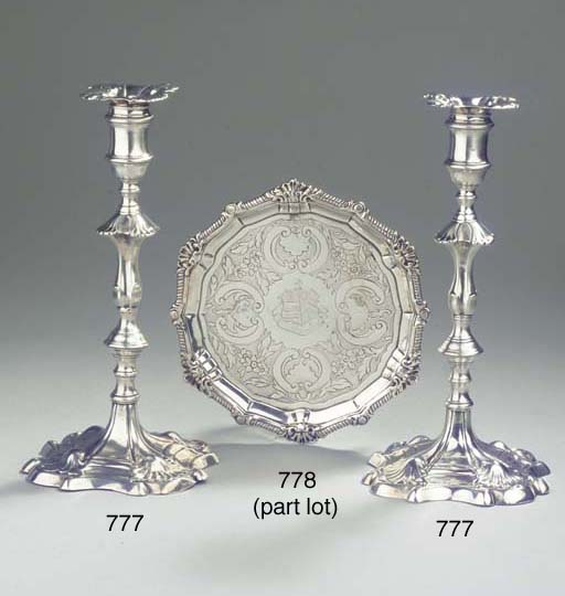 An Irish silver salver and two